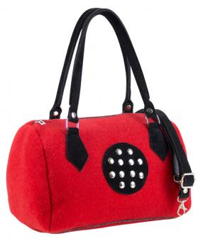 Sunsa rote Filztasche Handtasche Schultertasche Nietendeko